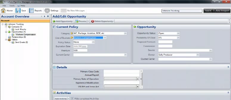 Vertafore Pipeline Manager Software - Opportunity