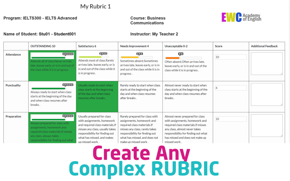 Classtrack.com rubric creation