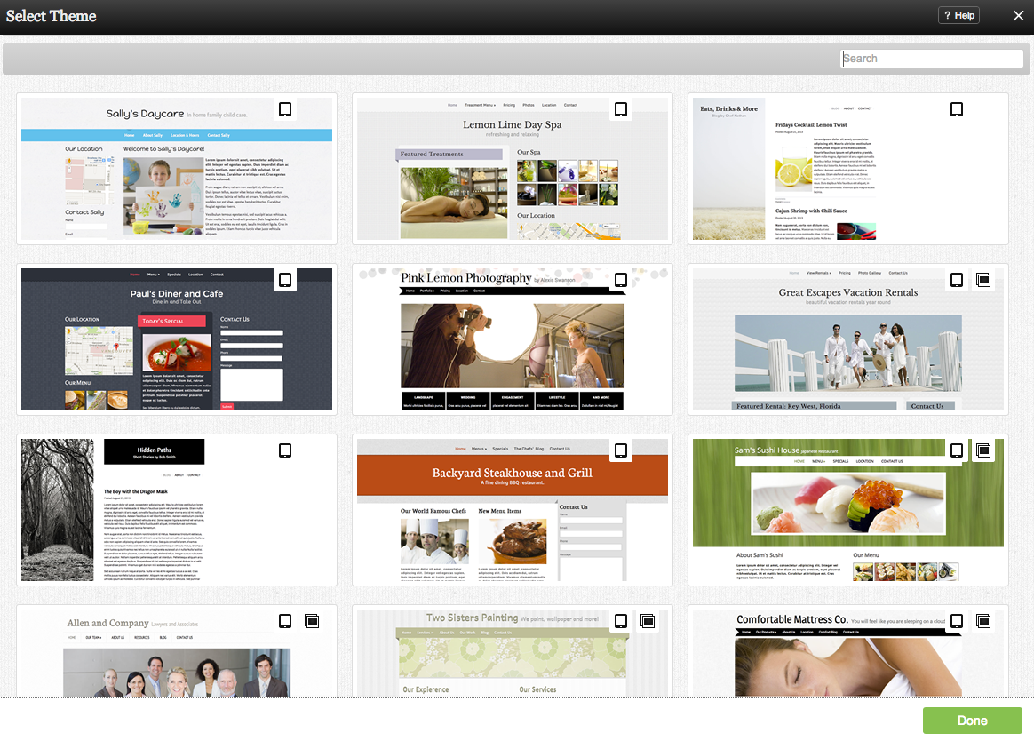 Ethion screenshot: Select from the library of customizable website theme templates available within Ethion