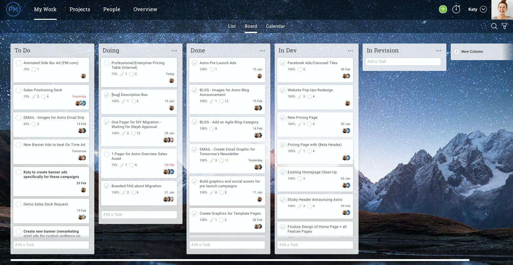 Easy-to-use kanban boards allow you to drag and drop tasks in the right column