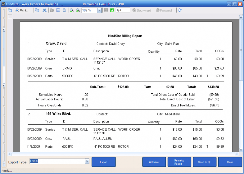 The HindSite Solution Software - Billing report for QuickBooks invoices