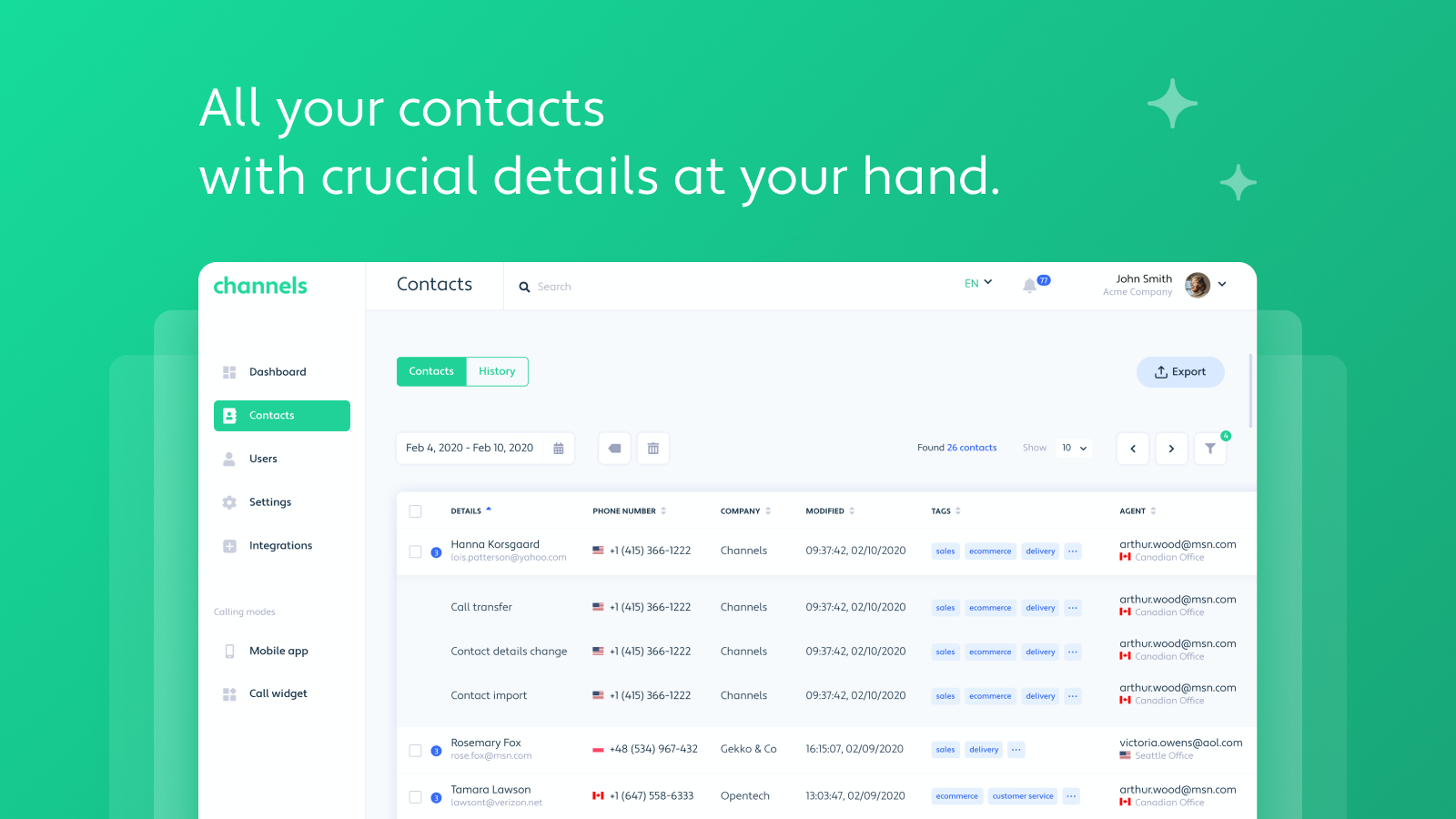 Contacts - organize and manage all of the most important customer details such as past touchpoints and call recordings.