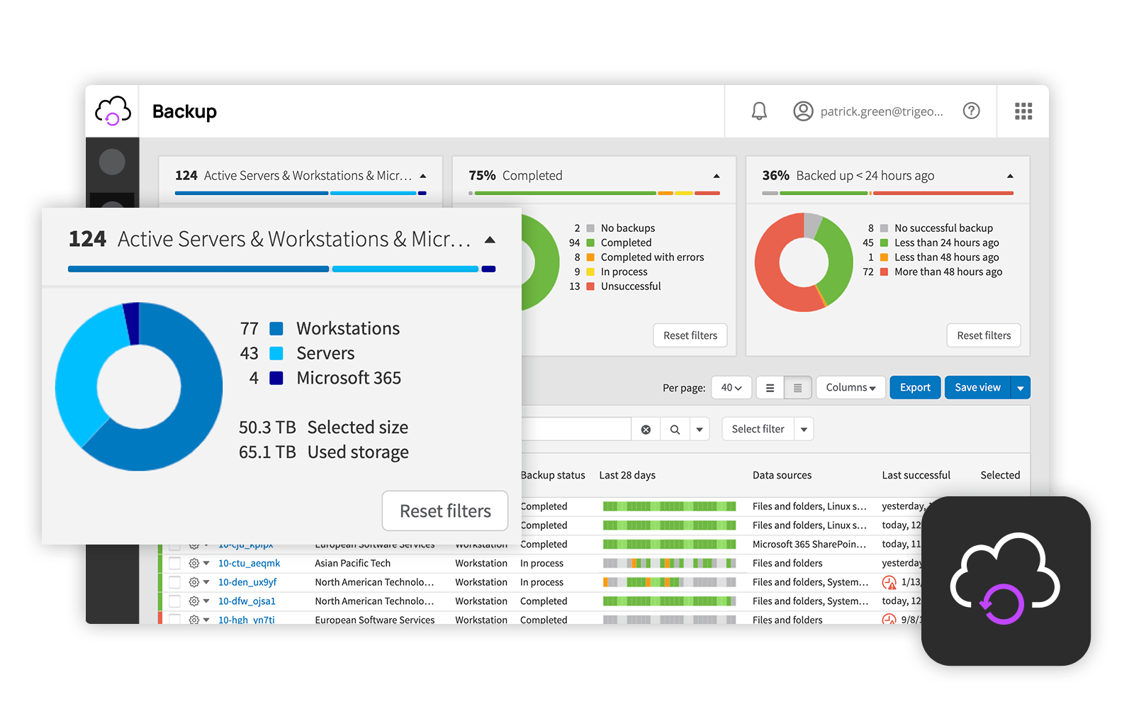 Backup screenshot: The backup & disaster recovery console gives an overview of all crucial components of the layered security strategy