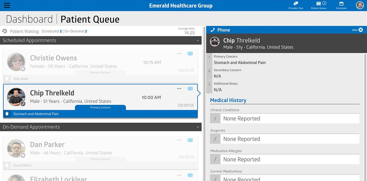 Virtual Care Management patient queue