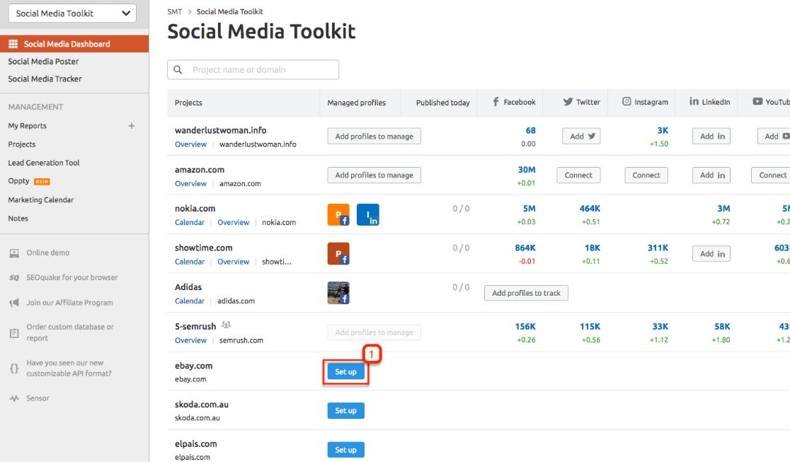 SEMrush social media tool kit
