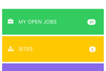 Fieldmagic screenshot: The mobile home dashboard allows quick access to open jobs, sites, and contacts