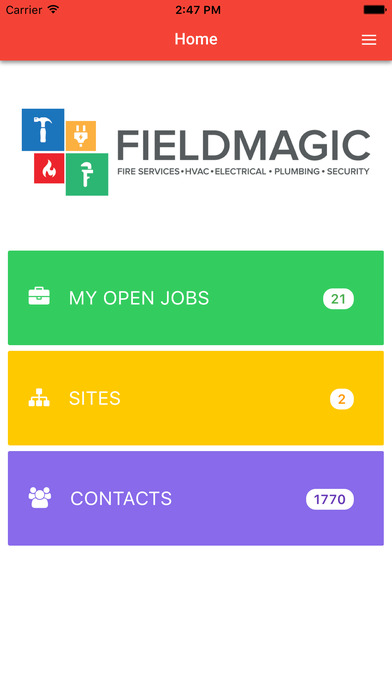 The mobile home dashboard allows quick access to open jobs, sites, and contacts