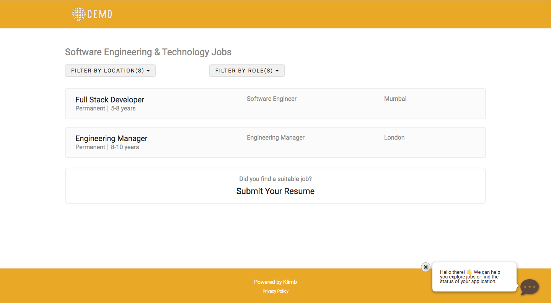 Klimb career site