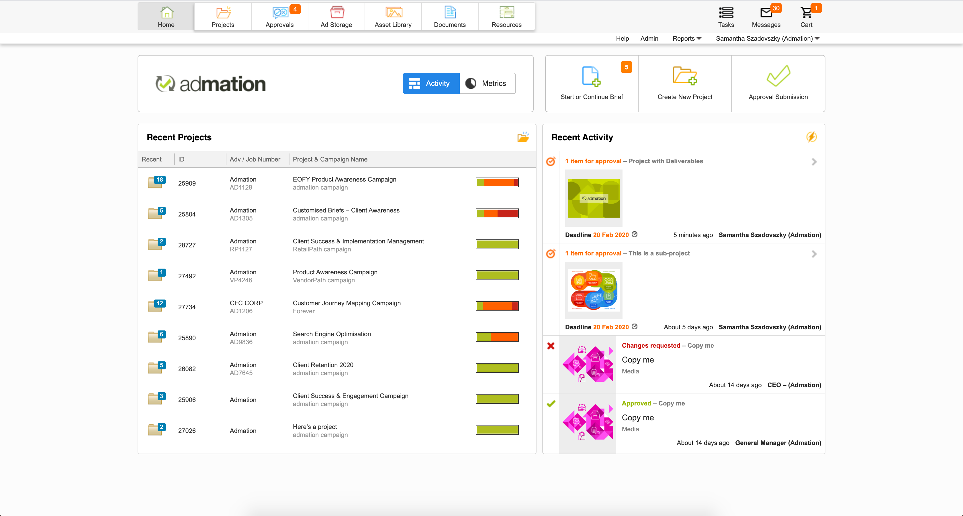 All work in progress is displayed on one central admation dashboard, for ease of viewing your active projects.