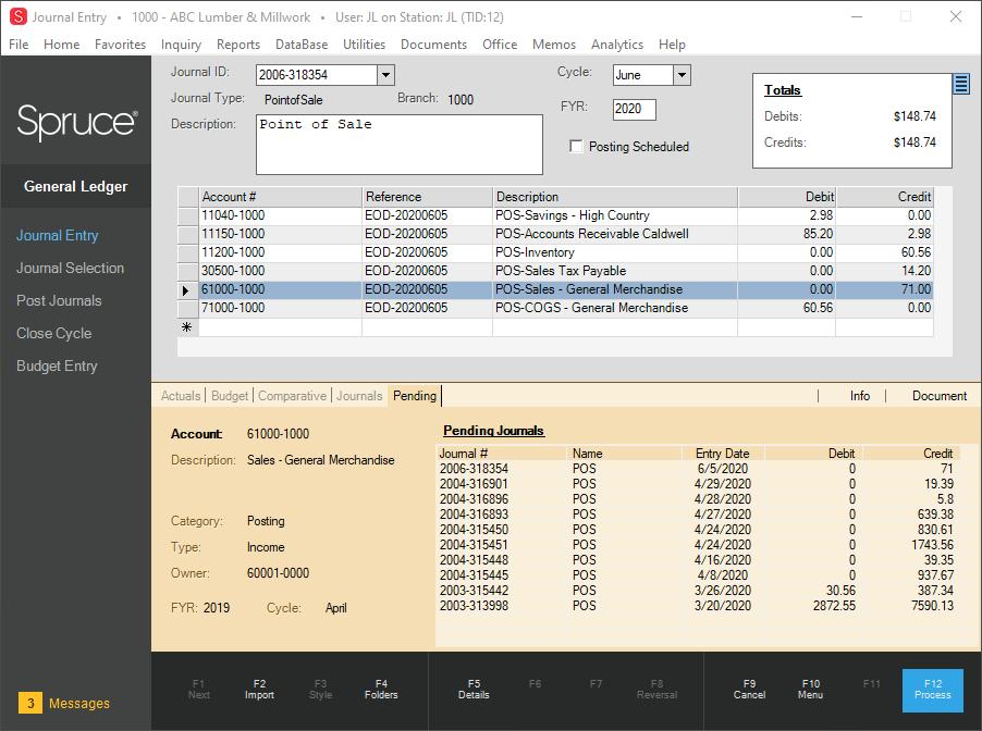 Spruce Software - General Ledger Journal Entry