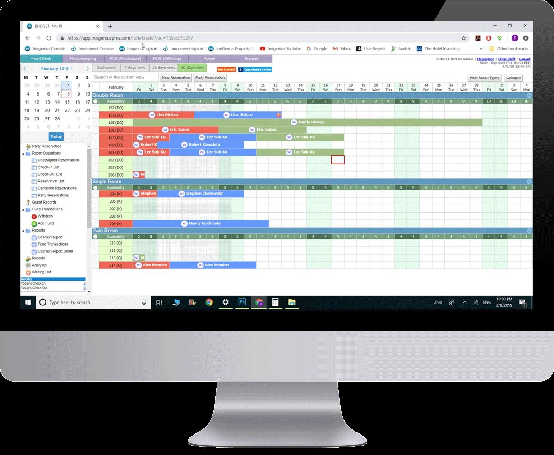 InnGenius PMS built-in calendar