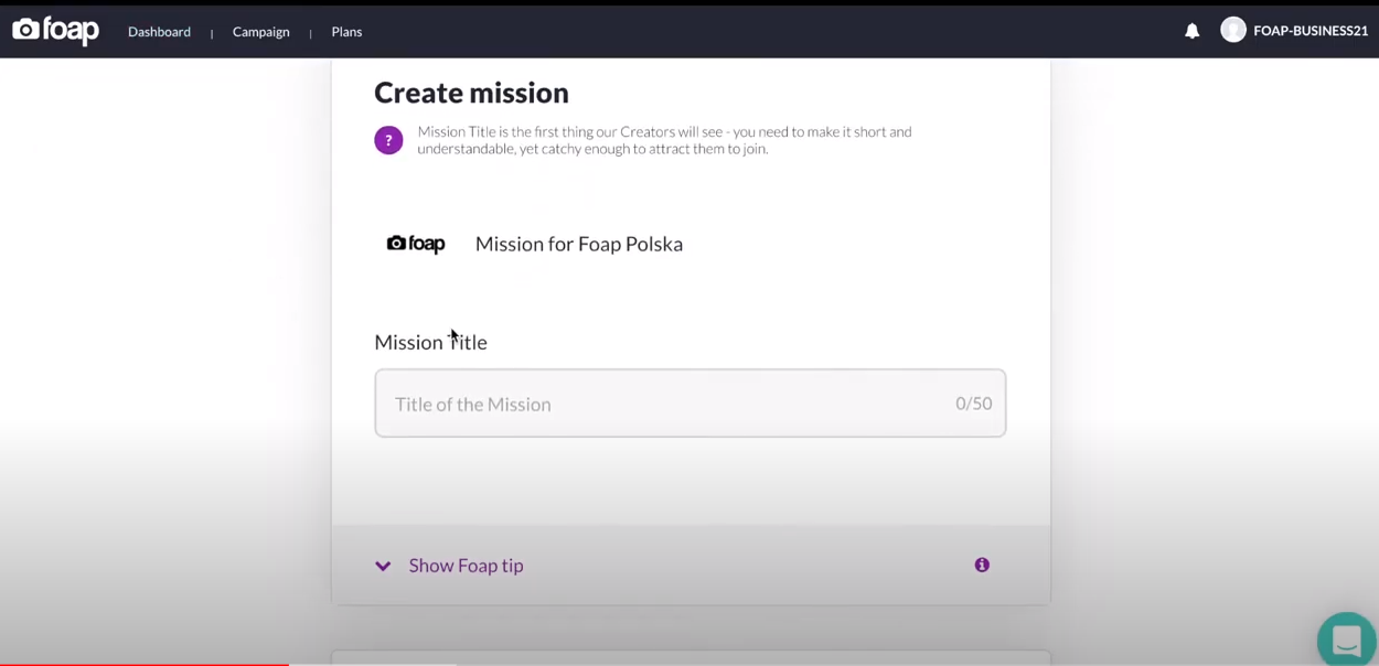 Foap campaign creation
