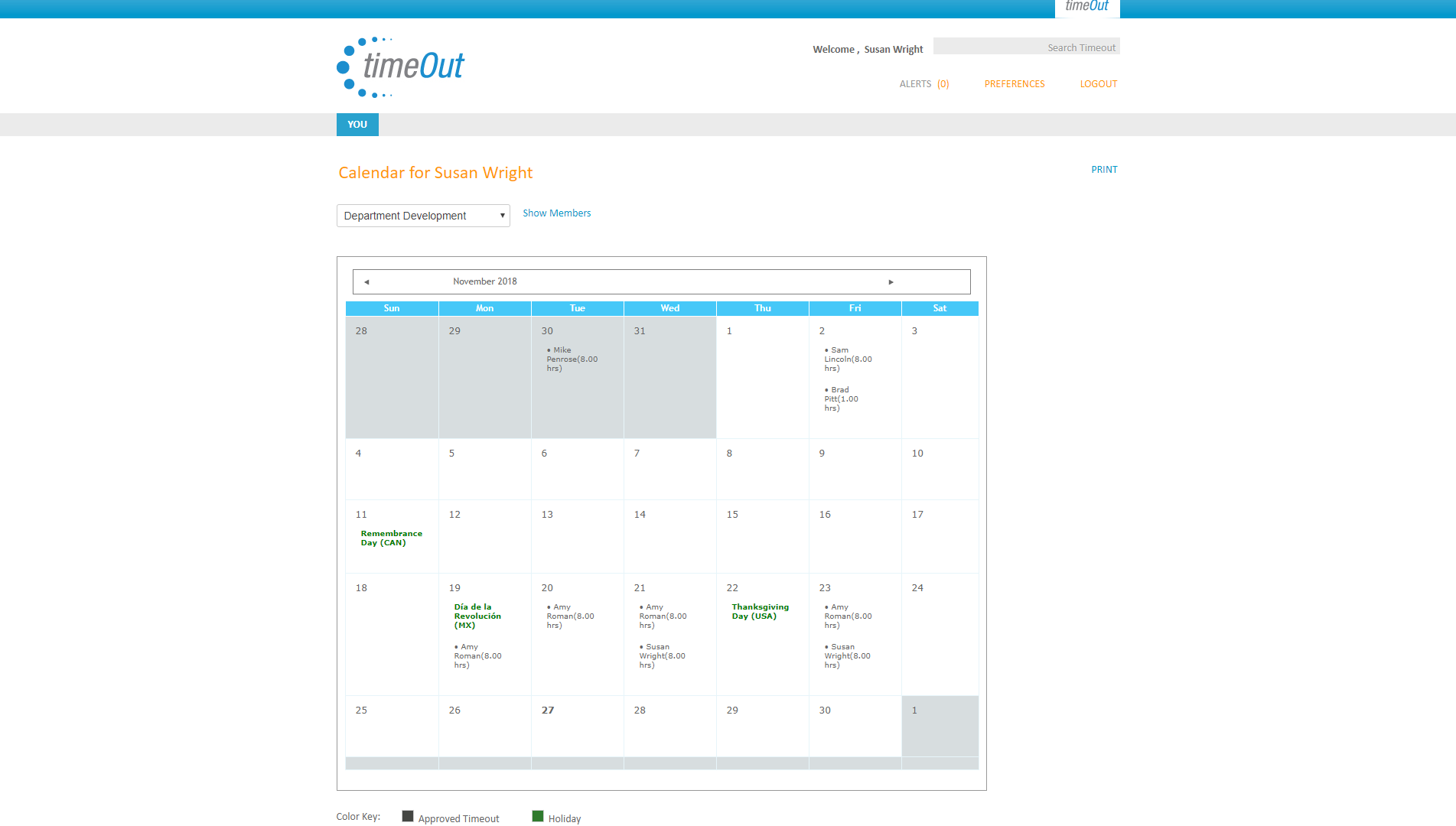 TimeOut - Calendar