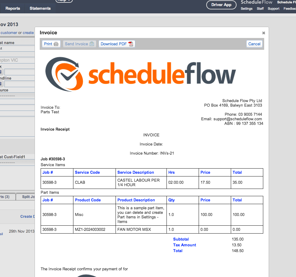 The software generates invoices after the work is finished