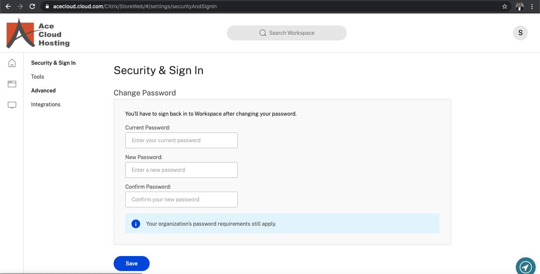 Ace Cloud Hosting screenshot: Ace Cloud Hosting sign-in