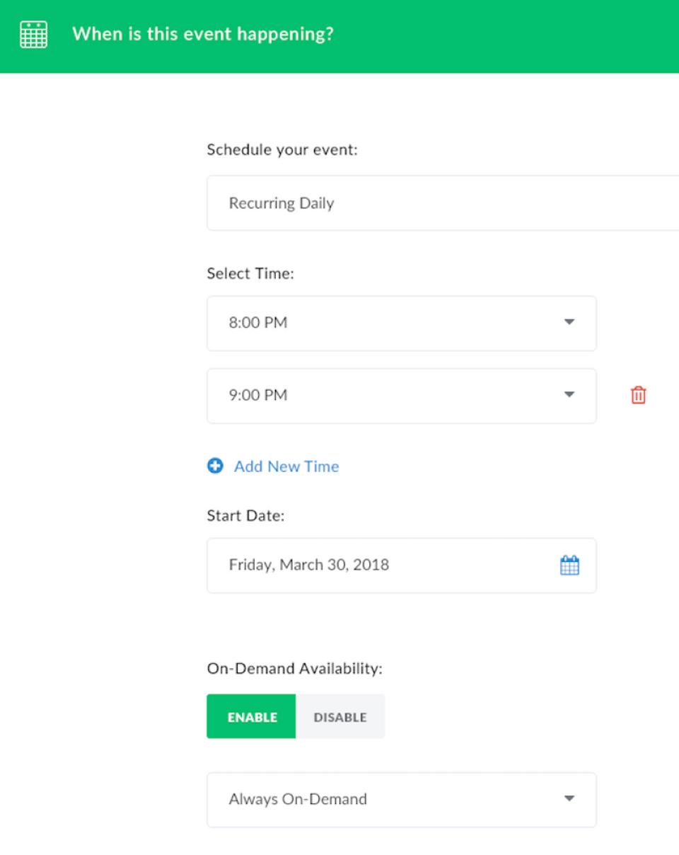 Demio event scheduling