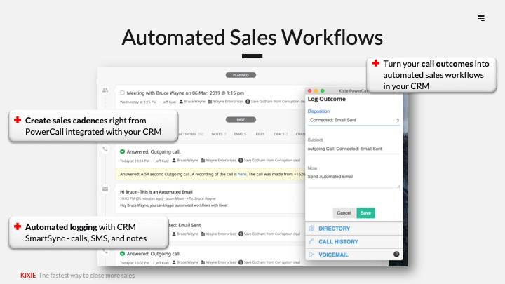 Run a second, parallel sales process that's entirely automated by sending automated SMS messages and triggering automatic calls using information from your CRM.