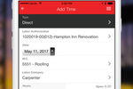 RedTeam screenshot: Keep track of time with the time clock feature which can be used via mobile device