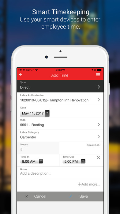 Keep track of time with the time clock feature which can be used via mobile device