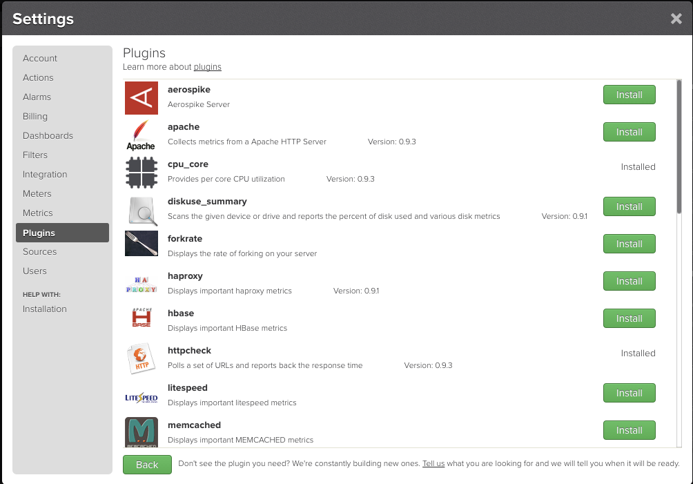 TrueSight Pulse monitoring-as-a-service: 3rd party application plugin panel