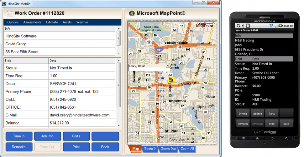 The HindSite Solution Software - Field view: work order details