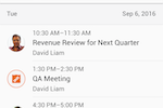 Cisco Webex screenshot: Users can view all of their upcoming scheduled meetings
