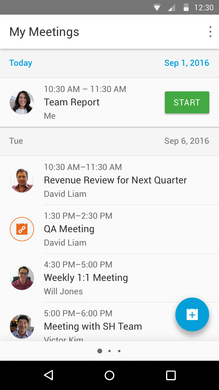 Users can view all of their upcoming scheduled meetings