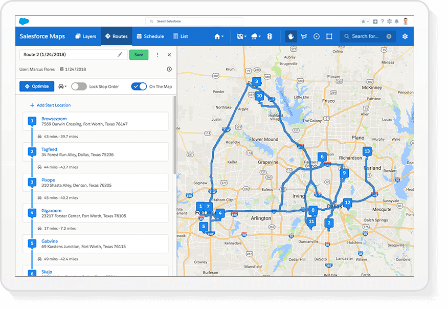 Salesforce Maps Route Optimization