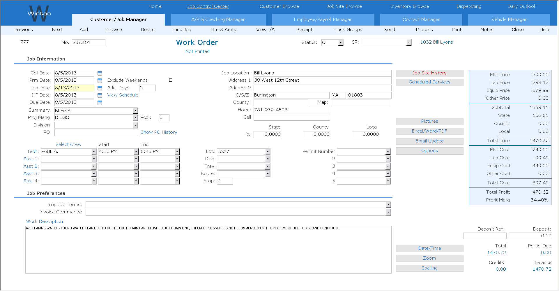 Wintac Software - Wintac Work order