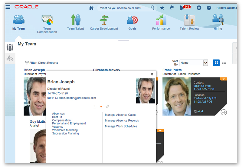 Oracle Cloud HCM screenshot: Access employee profiles for information and analyze workers' skills