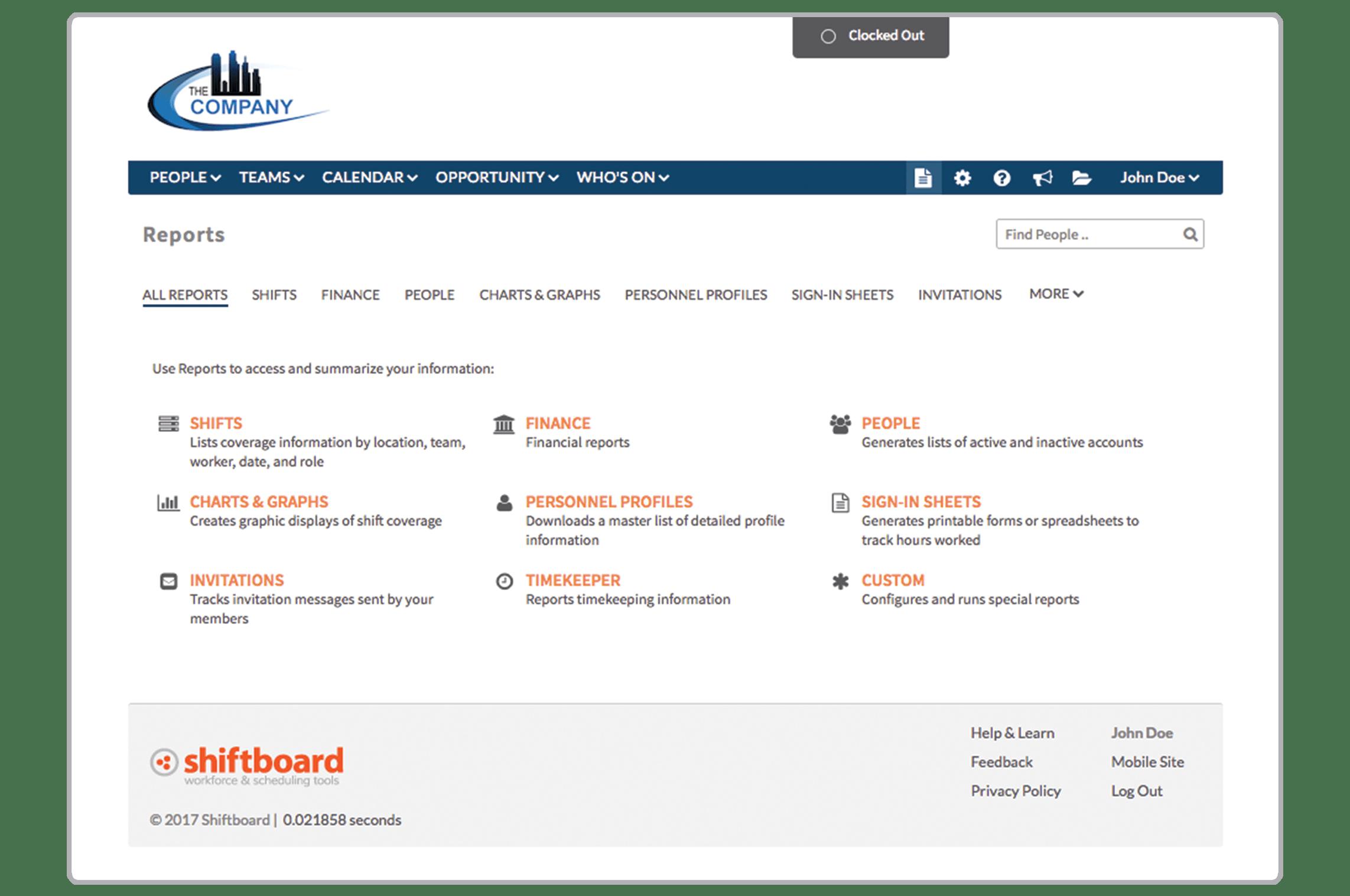 Shiftboard Software - Reports