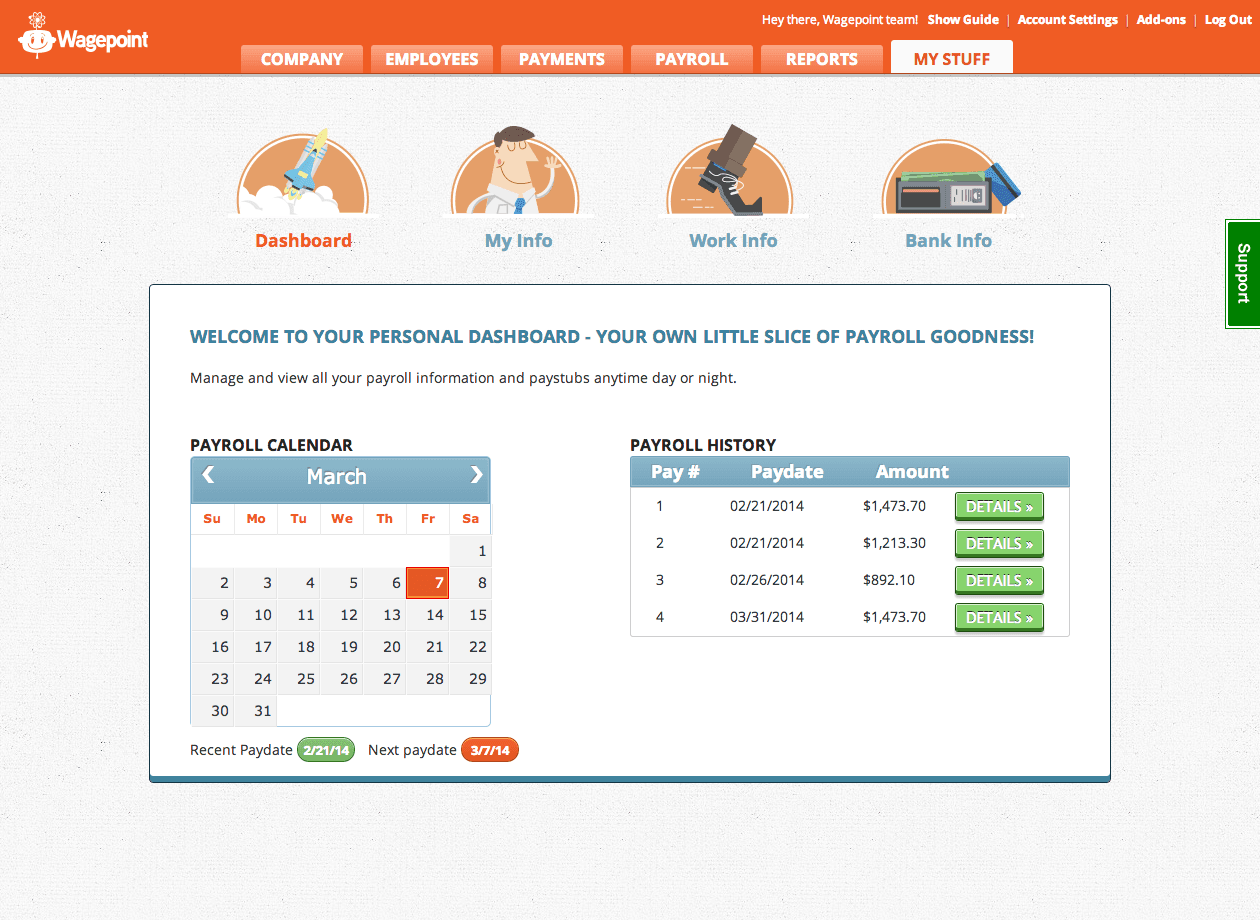 Wagepoint Software - Dashboard