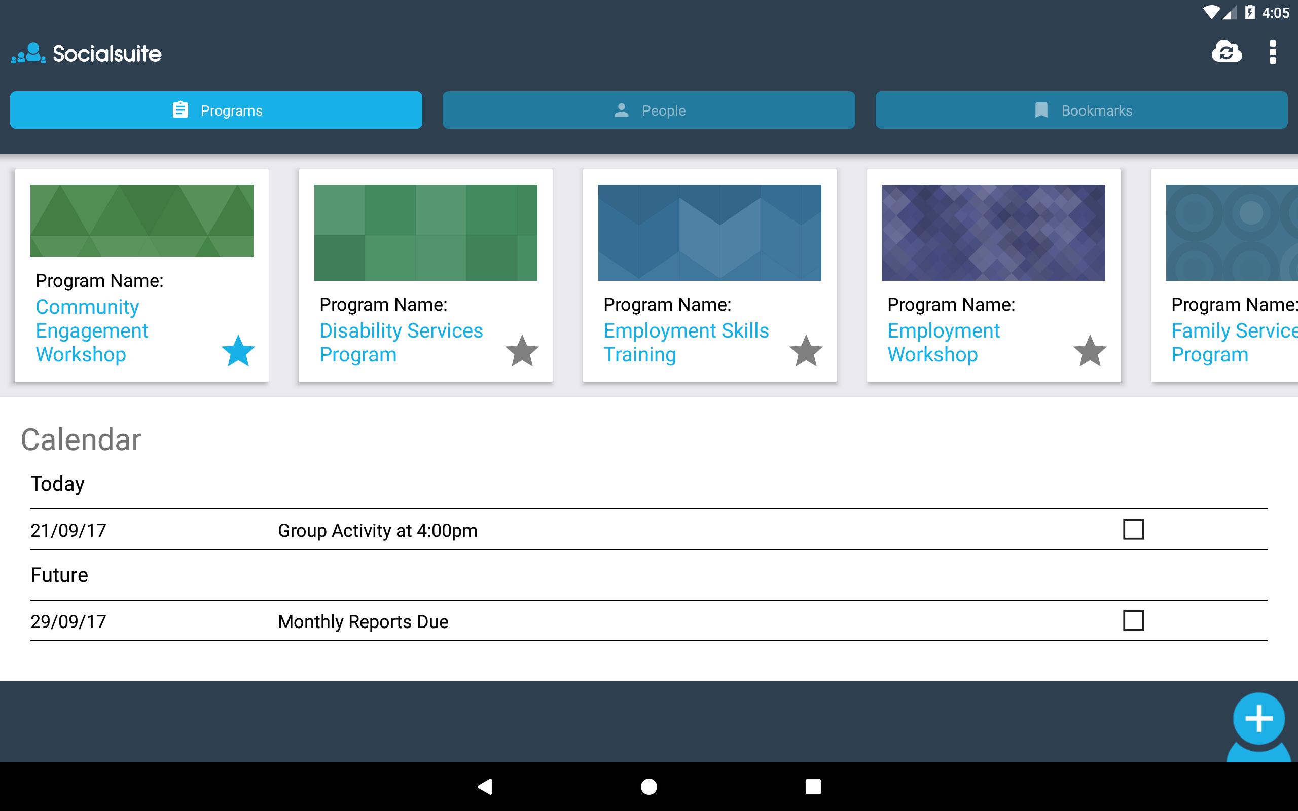 Manage programs within the Socialsuite app and refine them over time as new insights are gathered