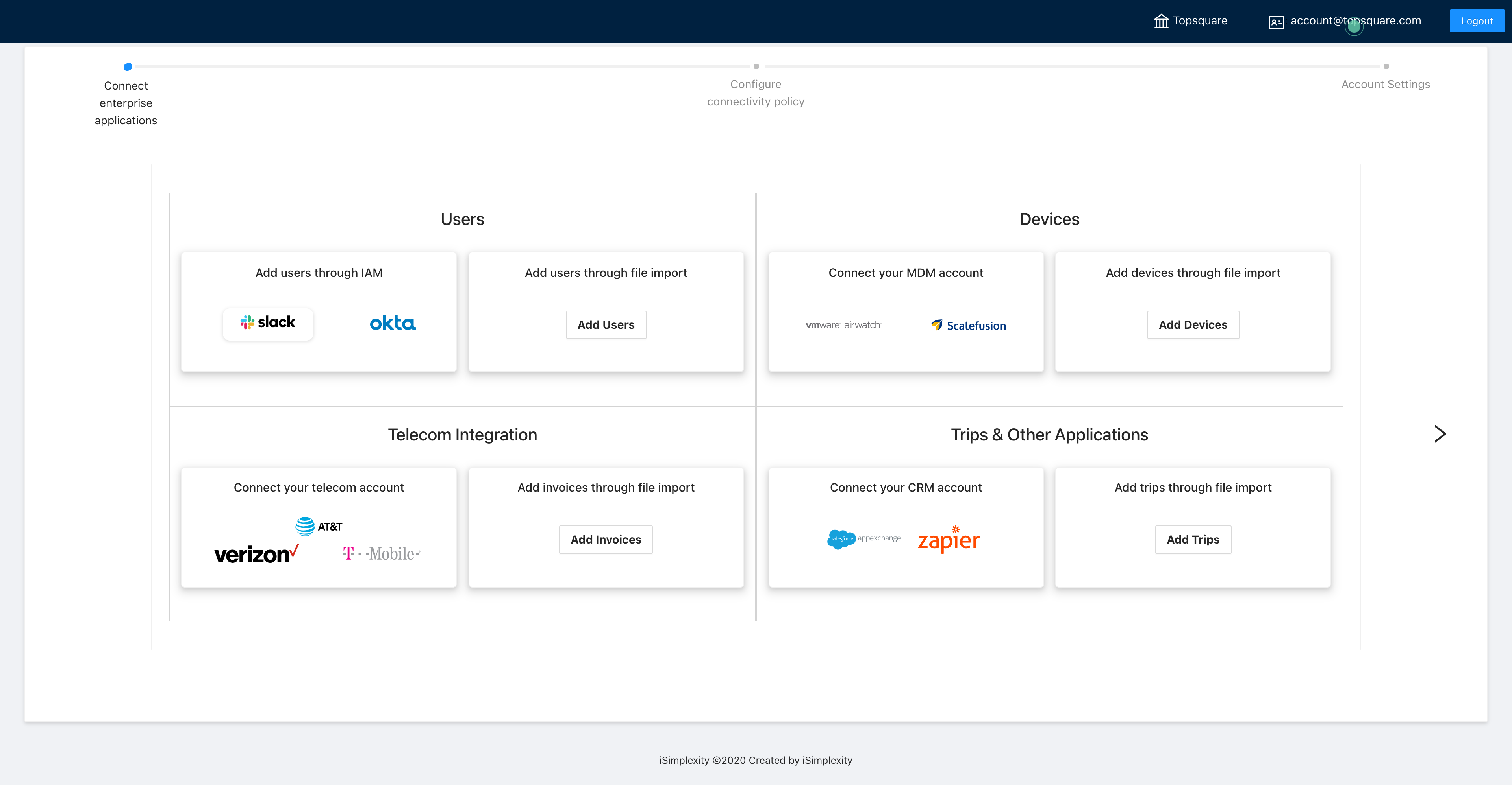 Import and onboard services/inventory and connect to enterprise systems