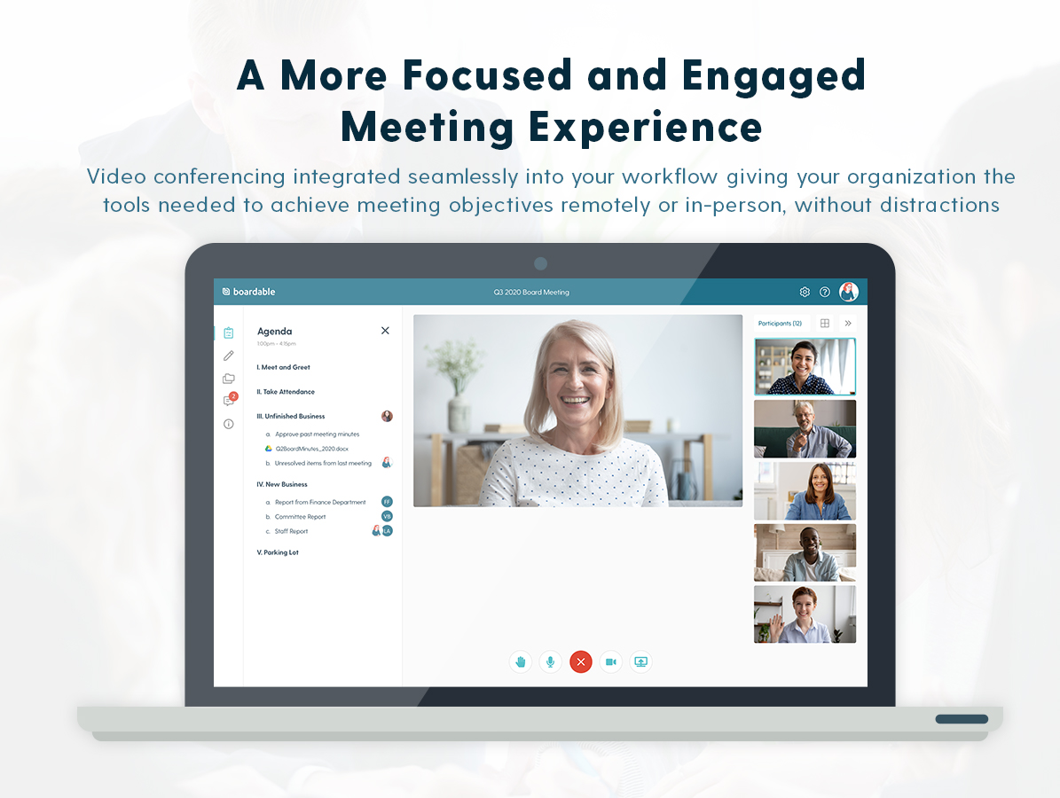 Boardable screenshot: Meetings with Video (Beta) gives your organization the tools needed to have an organized and engagement-boosting meeting experience whether you're meeting remotely or in-person.