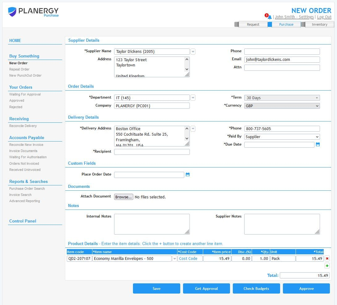 Planergy Software - PLANERGY offers an intuitive dashboard that makes ordering a snap. Pre-populated data including approved supplier lists, item catalogues, and delivery locations ensure correct info is automatically filled each time, eliminating errors and saving time.