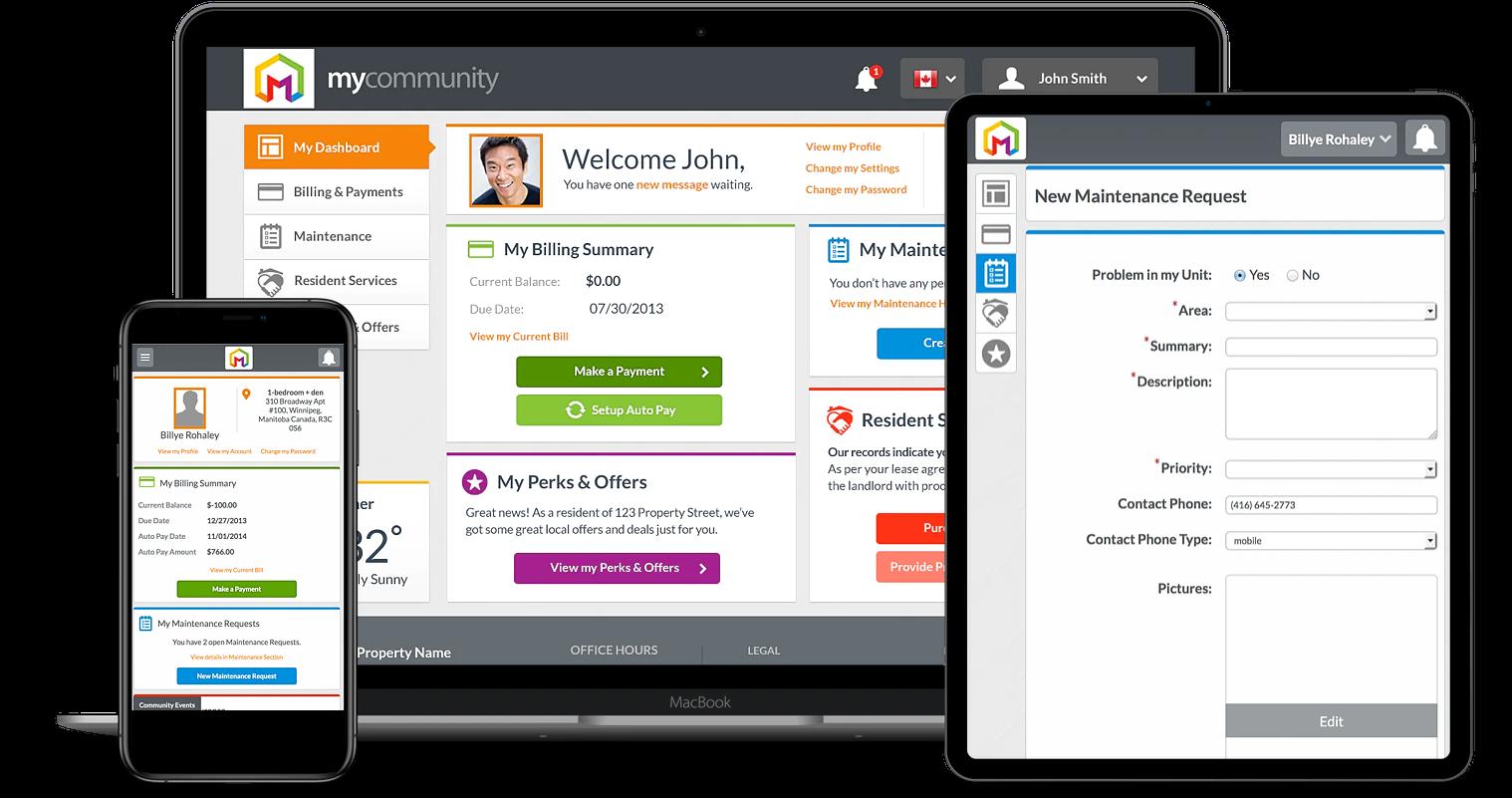 Property Vista screenshot: Best-in-Class Tenant Portal Experience