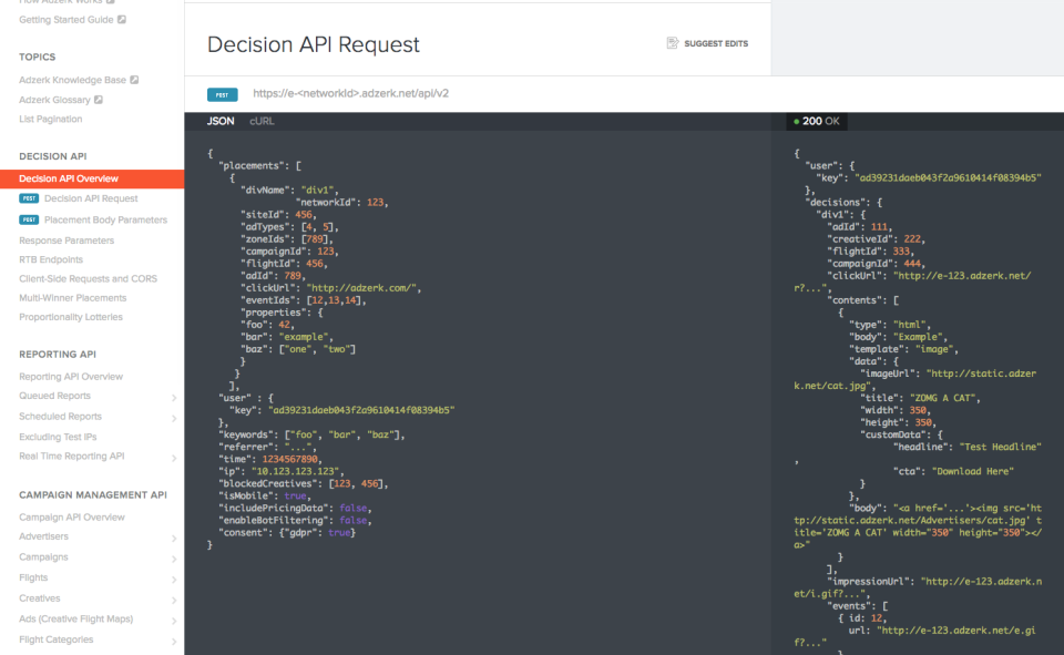 Kevel screenshot: Decision API requests use JSON to help users create and upload ads