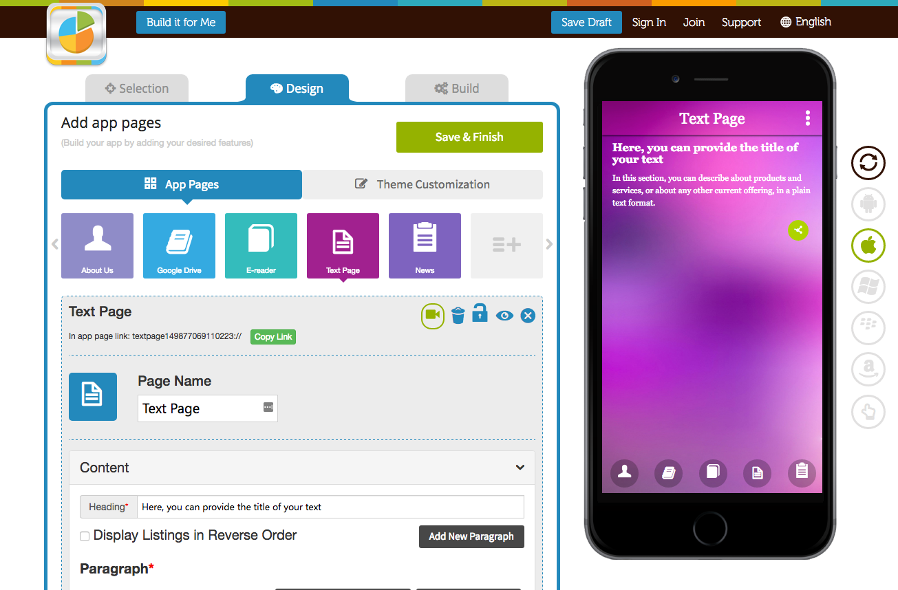 Appy Pie Software - Configurable app template