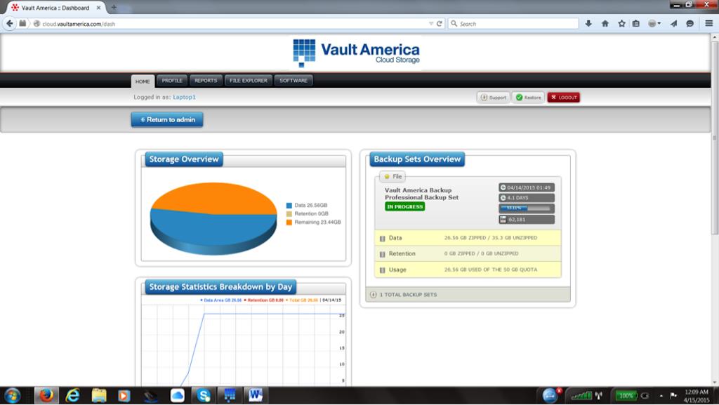 Vault America Online/ Cloud Backup Software - Dashboard