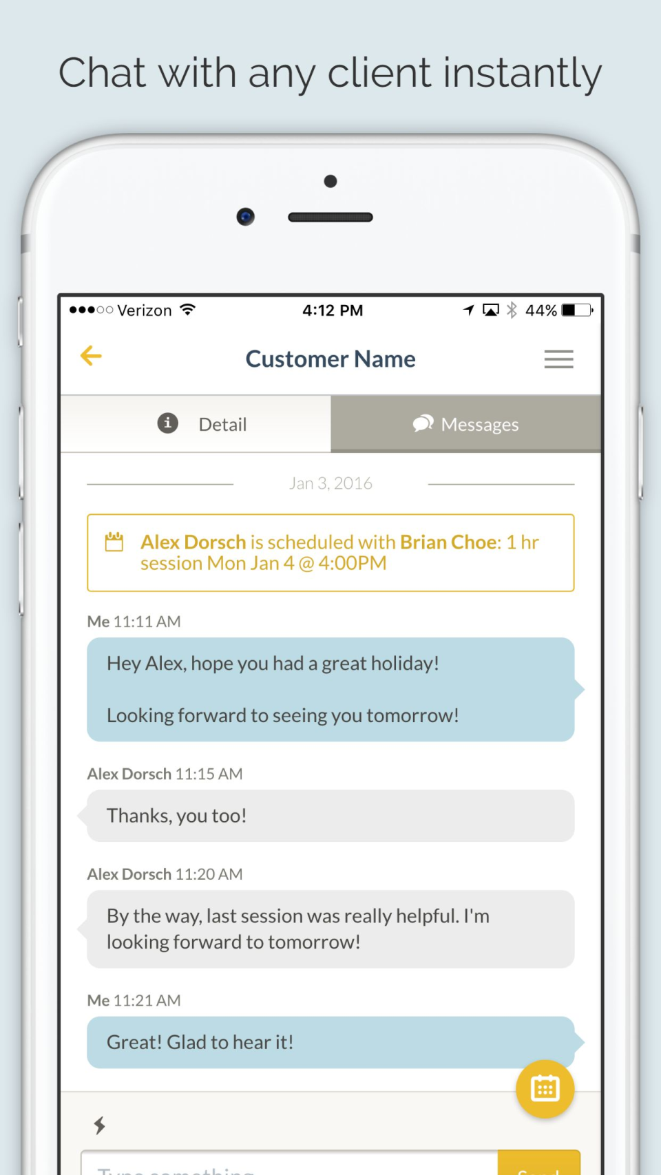 Chat with clients with built-in messaging