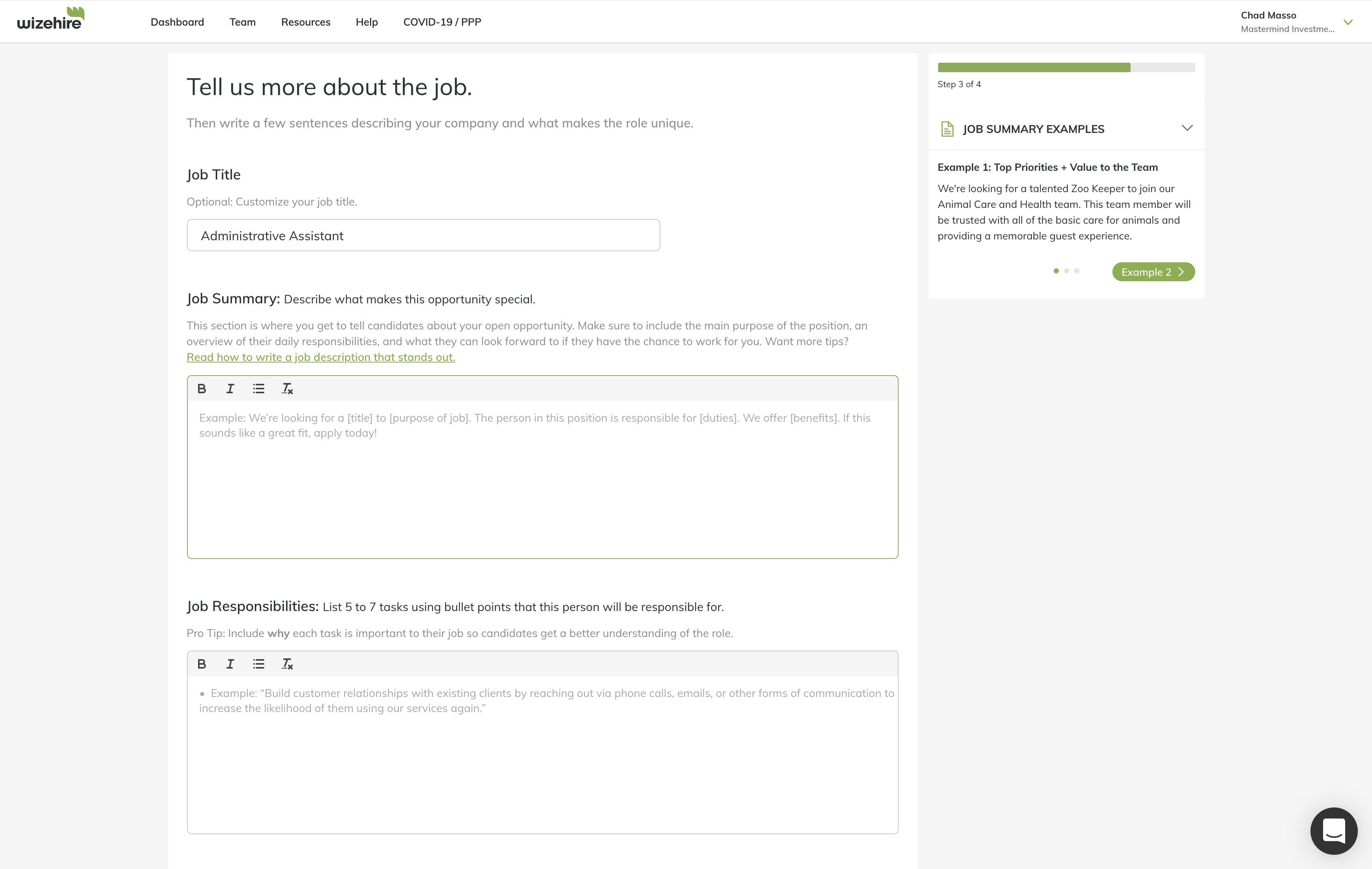Job Posting Experience