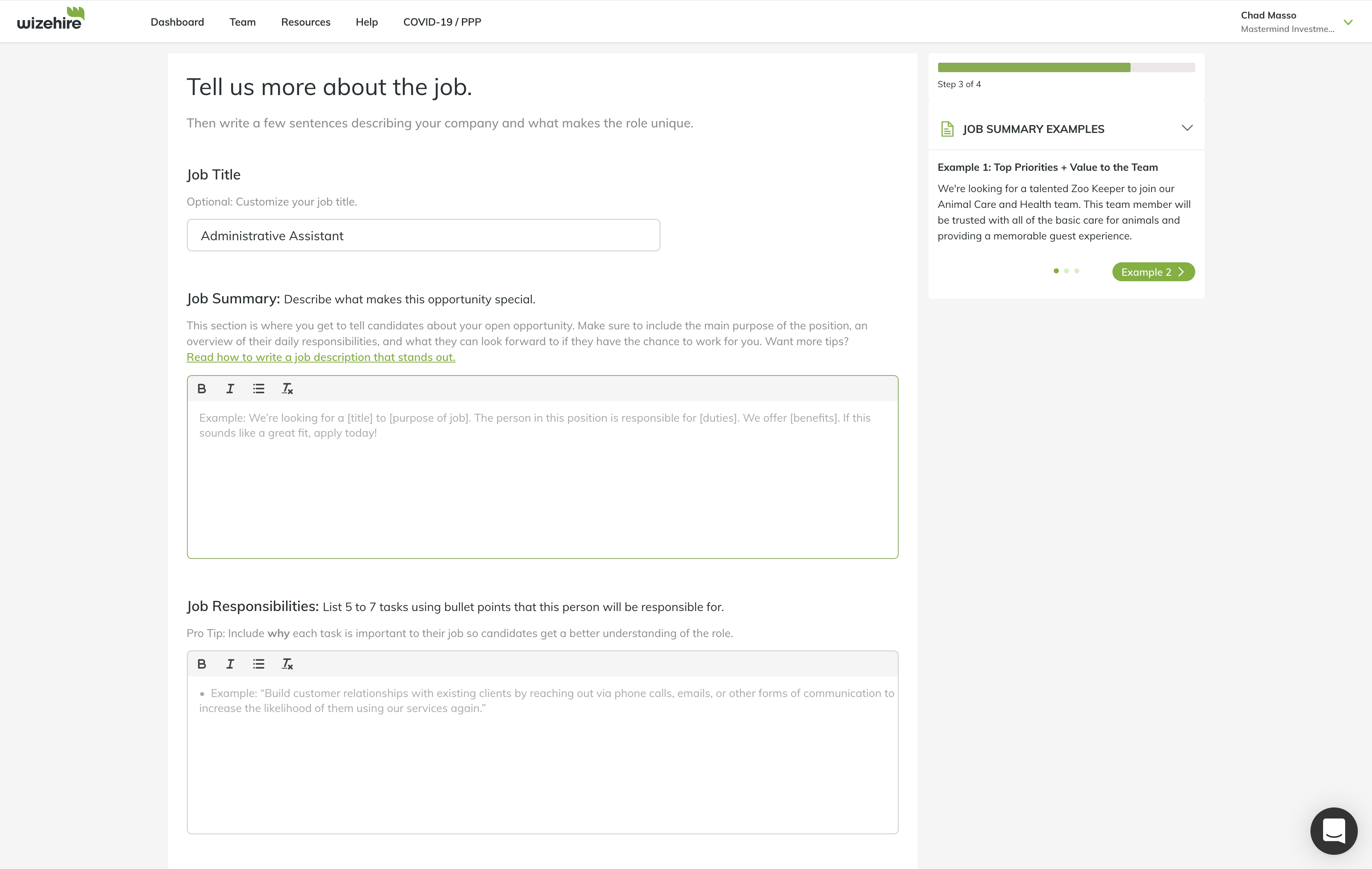 WizeHire Software - Job Posting Experience