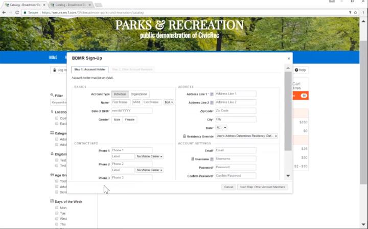 CivicRec event sign-up screenshot