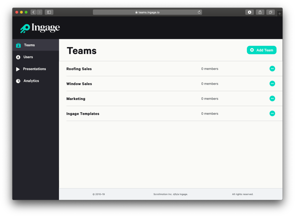 Teams allows you to organize presentations by department or location, ensuring your team only has access to the presentations they really need.