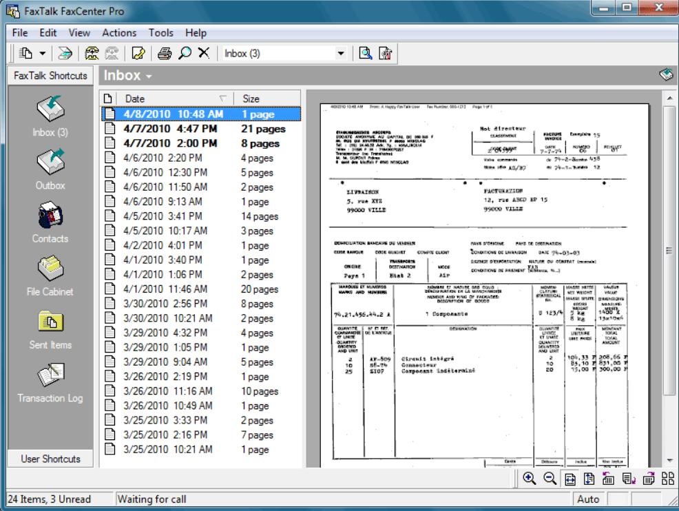 FaxTalk FaxCenter Pro inbox