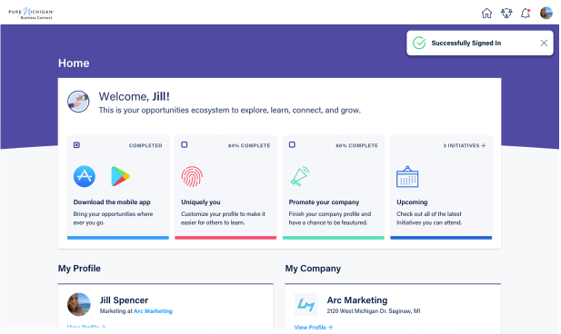 Users of Connect Space can create a custom profile and track opportunities and community activity
