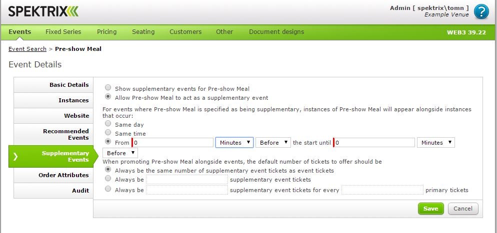 Add and manage event details including basic details, instances, supplementary events, and more