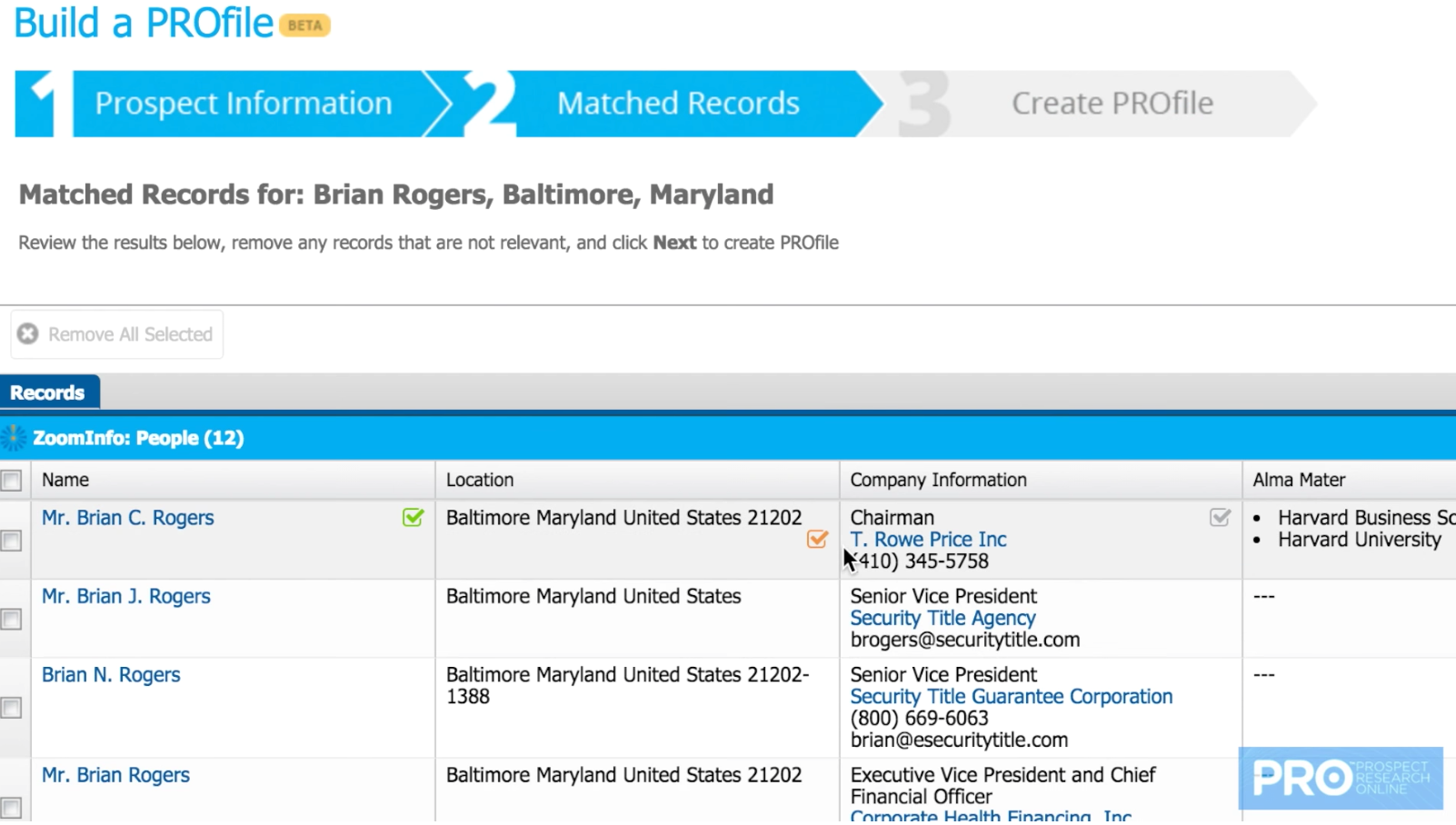 Entered details are matched with records automatically, and users select which records to use