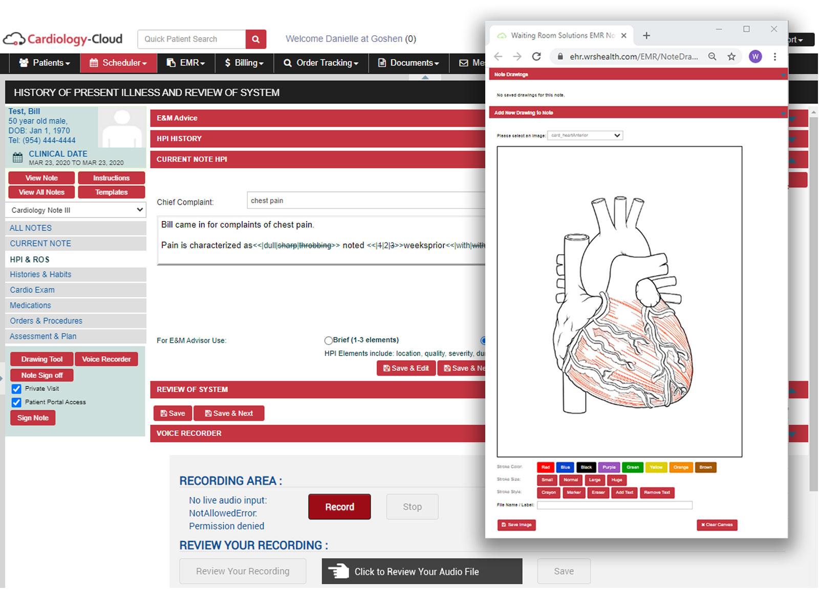 Cardiology-Cloud HPI Drawing Tool